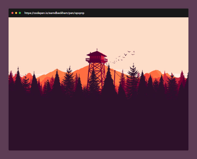 recreated the parallax header on the Firewatch website in CSS.