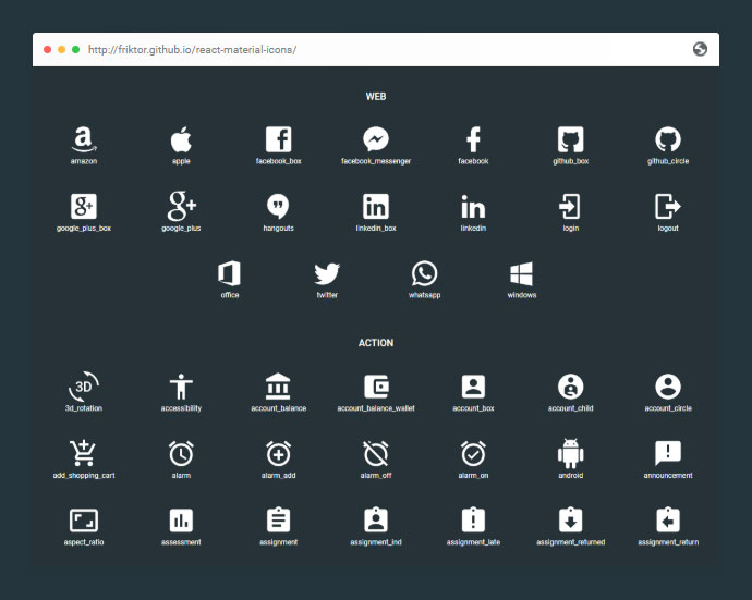 React Material Icons