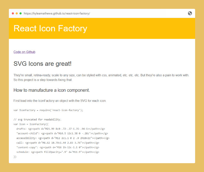 React Icon Factory