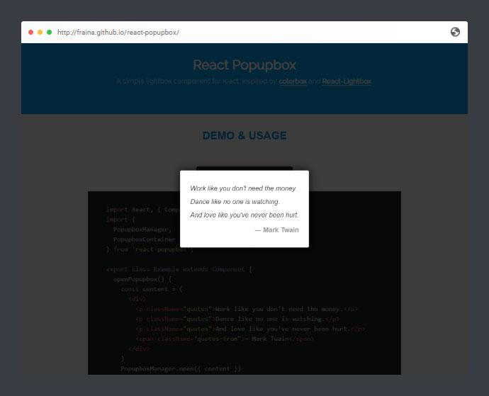 React Popupbox