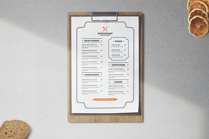 Restaurant Menu Template Minimalist
