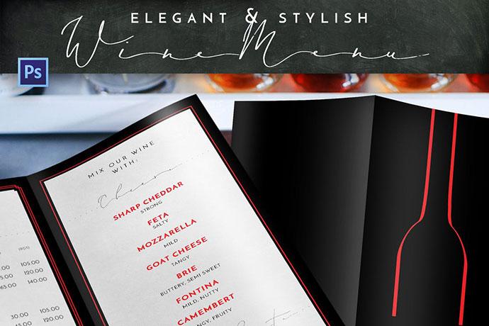 Elegant Stylish Wine Menu