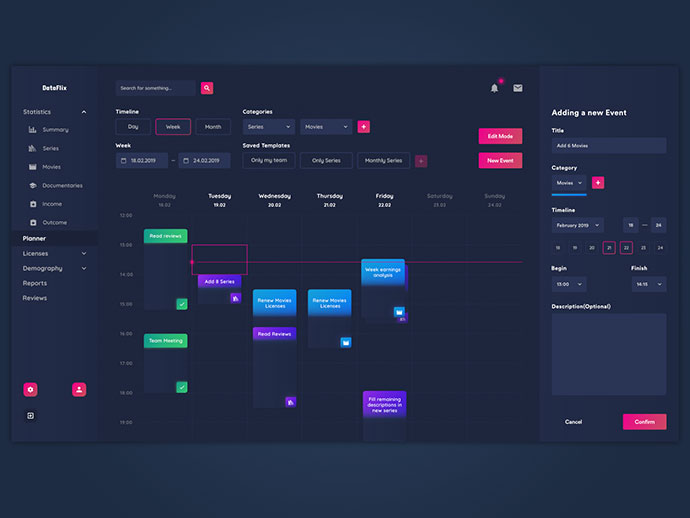 Streaming Platform Planner/schedule