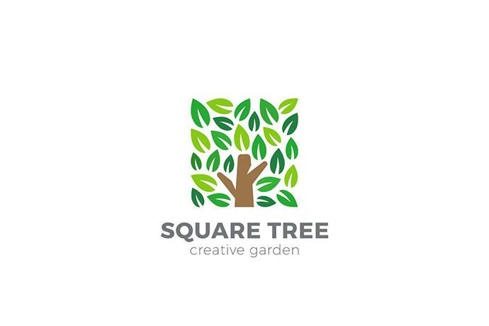 Logo Tree Garden Square Shape
