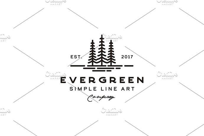 Vintage Evergreen Pine tree Logo