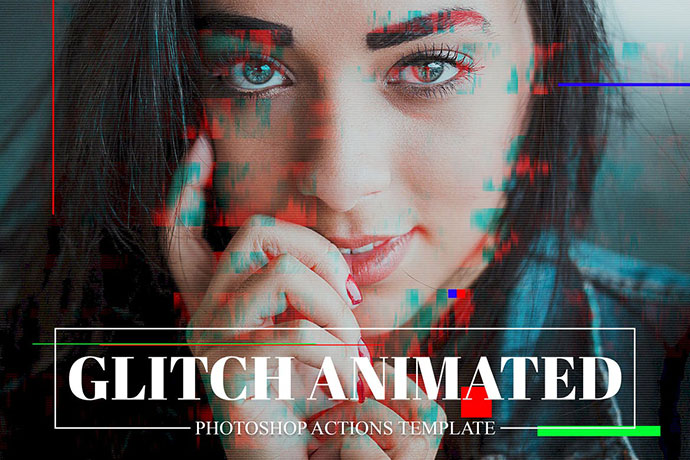Gif Glitch Animated Photoshop Action