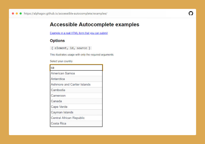 Accessible Autocomplete