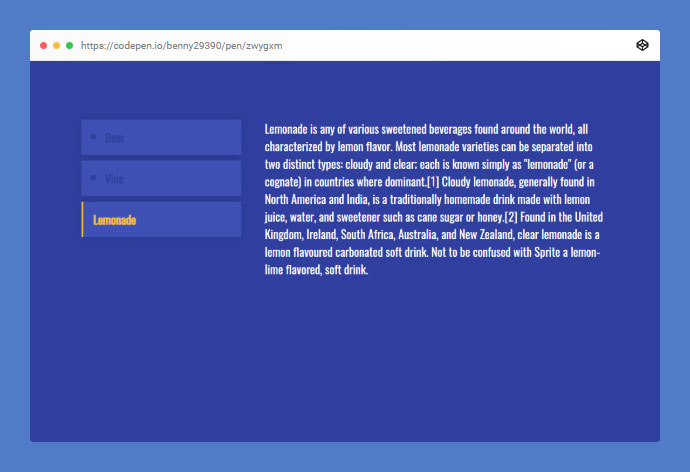 A simple tabs / accordions solution with jQuery, HTML and CSS.