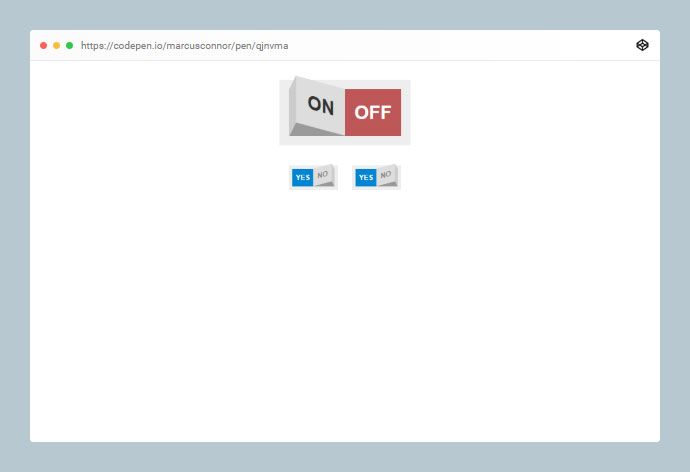 An HTML checkbox form element styled as a rocker toggle switch.