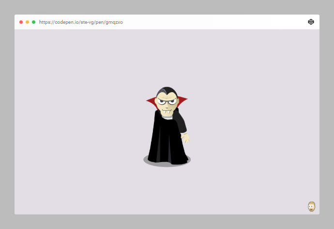 Animated SVG bat which when you click turns into a vampire!