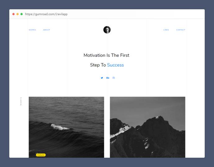 Free Single Page Minimal Portfolio