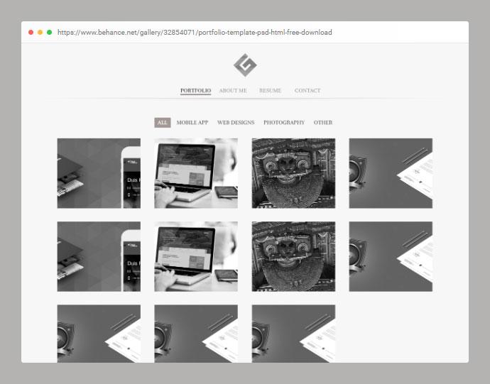Portfolio Template PSD HTML