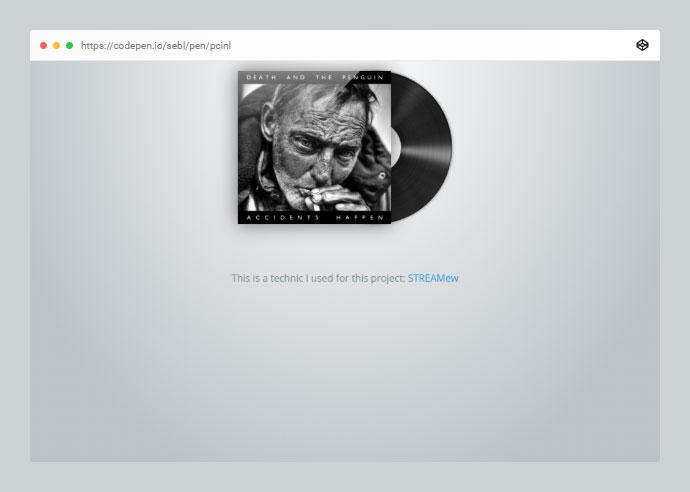 SoundCloud mini player with css record animation, using SoundCloup API.