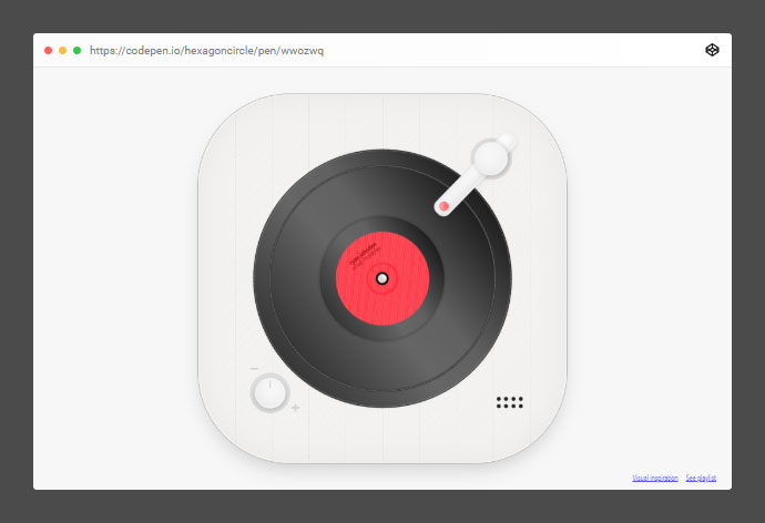 A responsive CSS record player that also has a simple use case of streaming a random song from a playlist with SoundCloud API.
