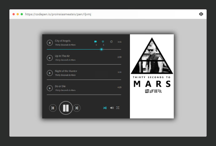 Html & CSS Music player layout.