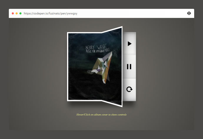Hover/Click on album cover to show controls.