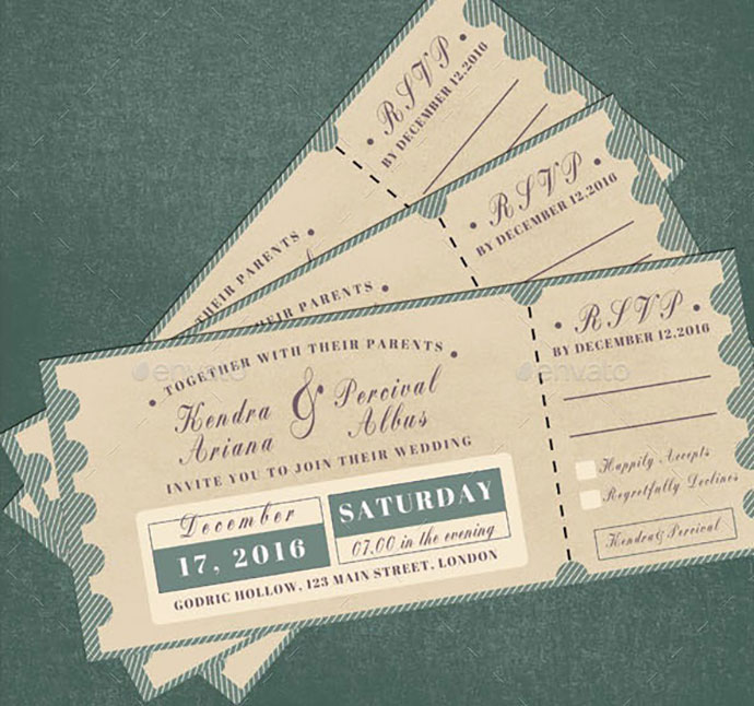 Wedding Invitation & RSVP Ticket