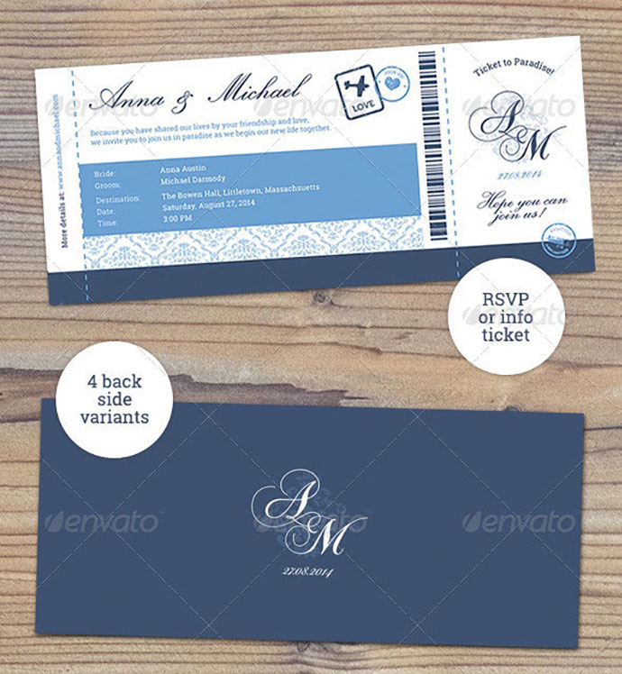 Elegant Boarding Pass Wedding Invitation RSVP