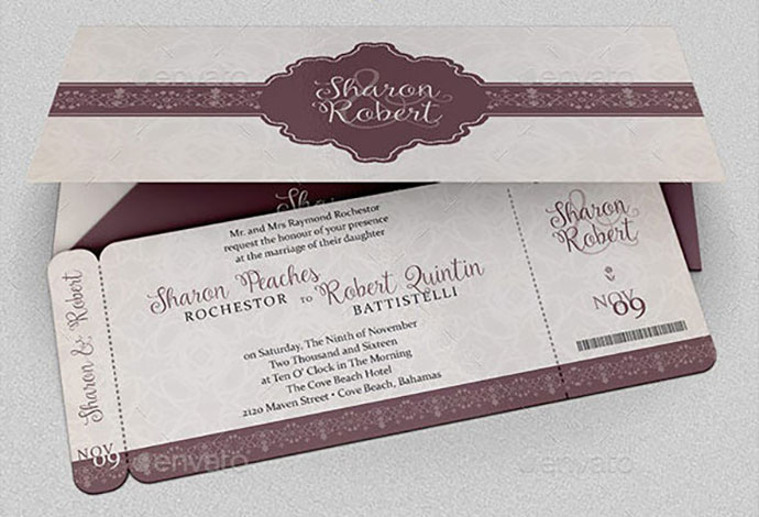 Wedding Boarding Pass Invitation Template