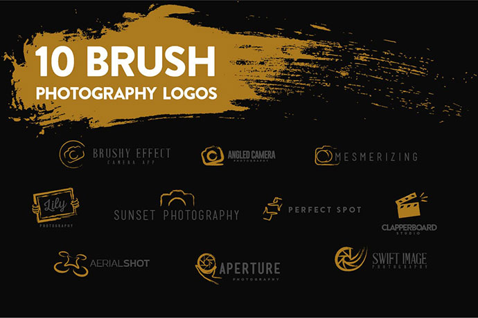 10 Brush Photography Logos