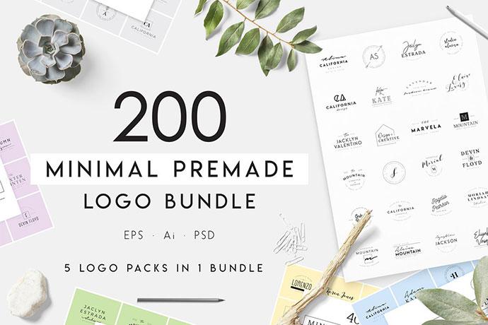 200 Minimal Premade Logo Bundle