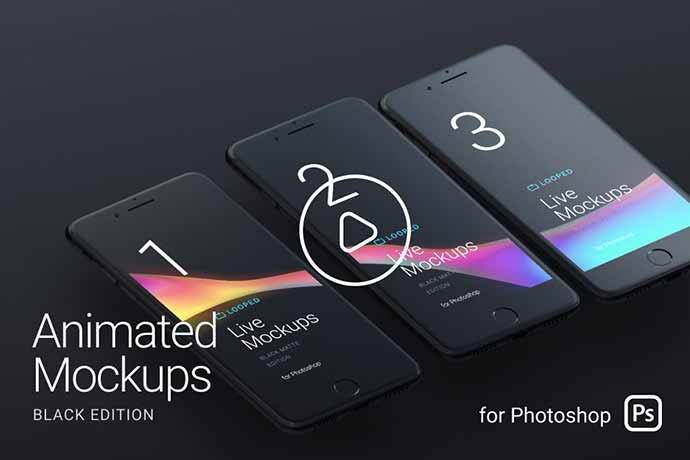 Looped Animated Mockups | Black
