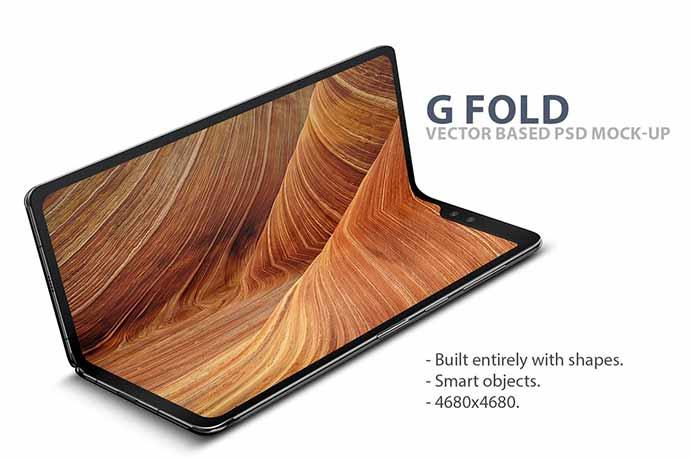 G Fold Smartphone Psd Mock