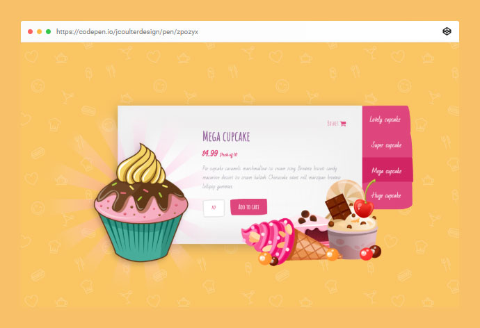 CSS Only Cupcake Slider With Sprinkles!