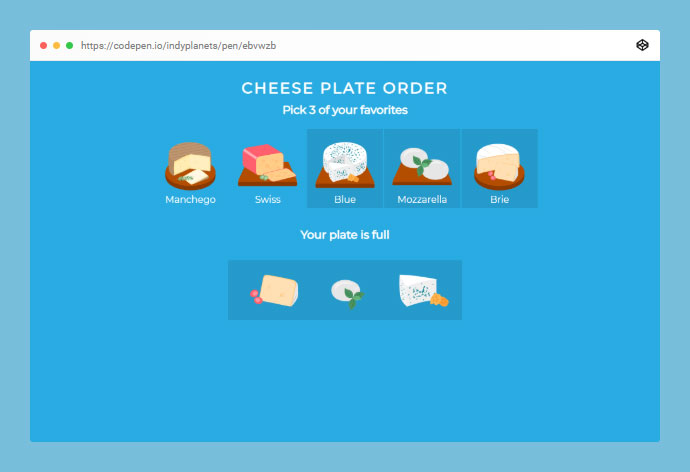 React Cheese Plate Order