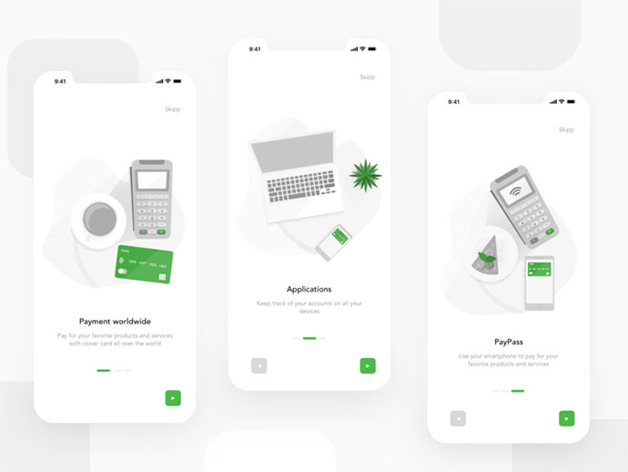 Clover Bank App Onboarding Screens
