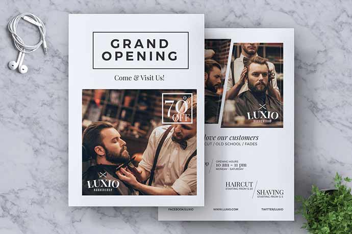 Barbershop Grand Opening Flyer Template