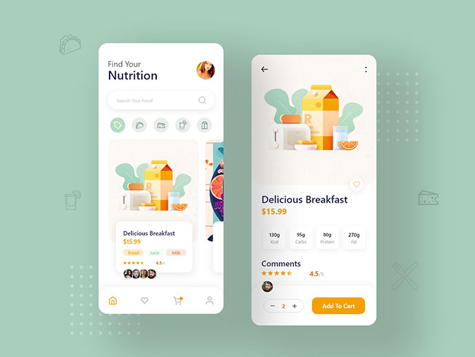 Food Order App Pages