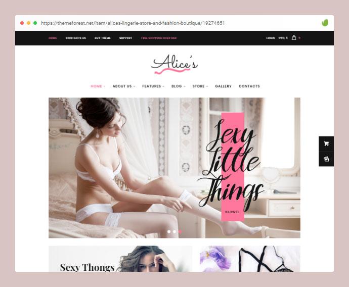 Alice's Lingerie Store and Fashion Boutique WordPress Theme