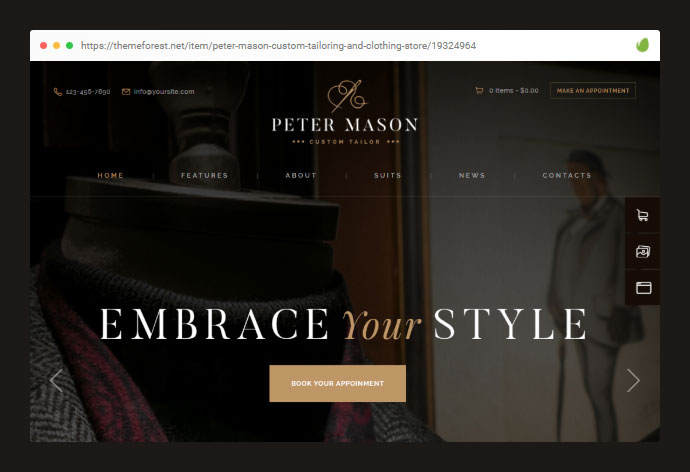 Peter Mason | Custom Tailoring and Clothing Store WordPress Theme