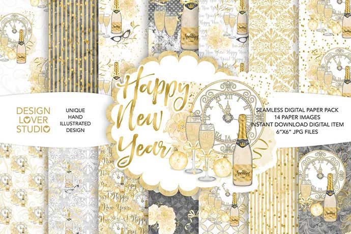 Watercolor Happy New Year Digital Paper Pack