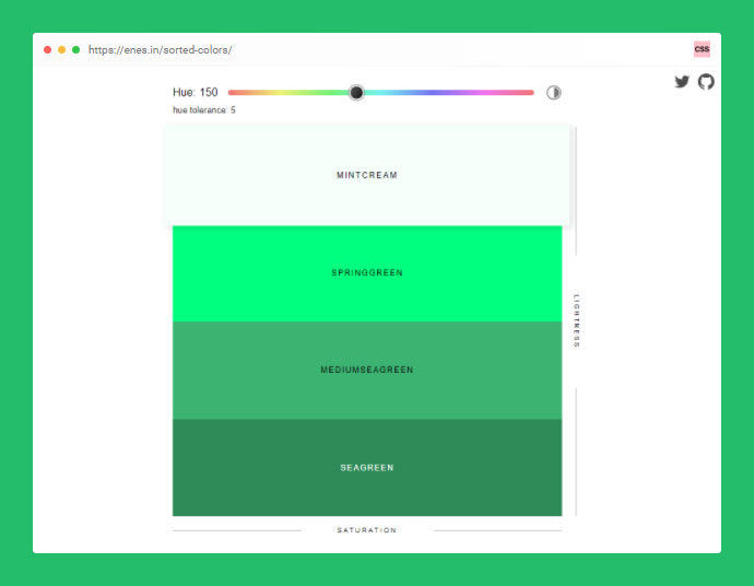 Sorted CSS Colors