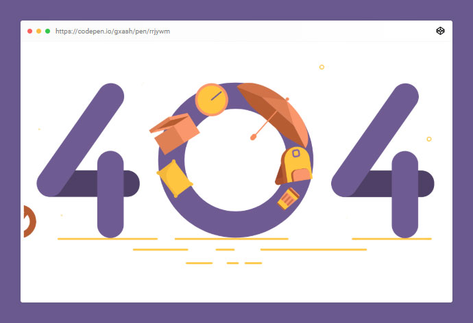 404 SVG Animated Page Concept For E-store