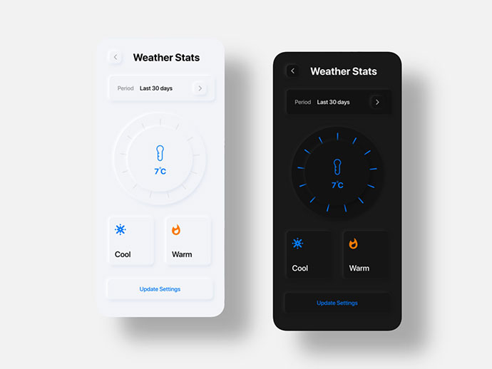 Weather App - Neumorphism Soft Ui Freebie