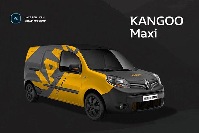 Renault Kangoo Maxi Van Wrap Mockup