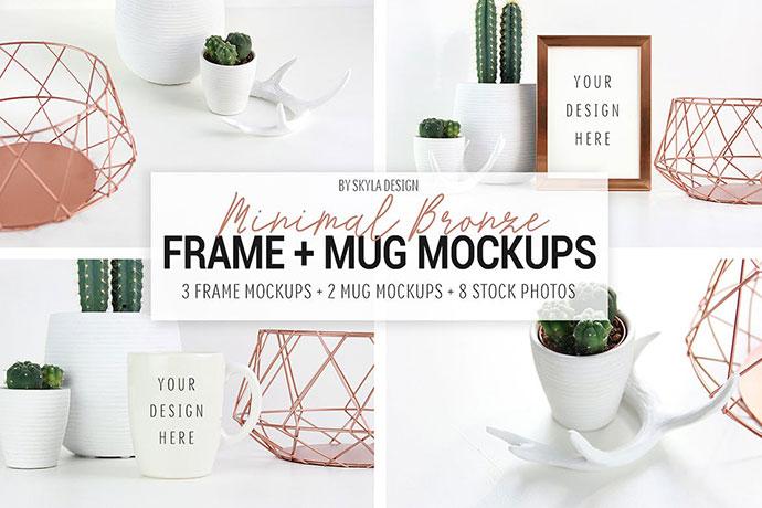 Picture Frame And Mug Mockups, Minimal Bronze