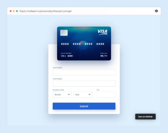 Credit Card Form - Vuejs
