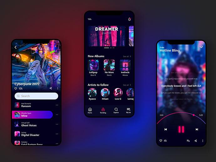 Music App Ui Concept (Dark Theme)