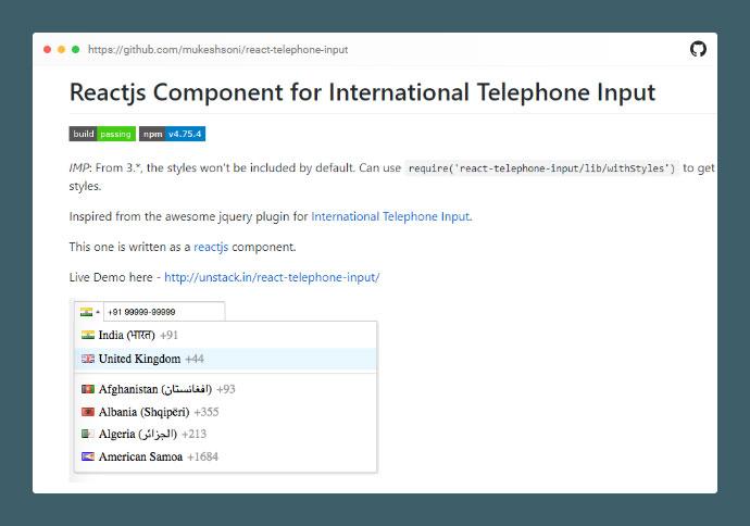 React Telephone Input