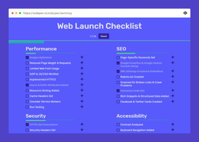 Web Launch Checklist