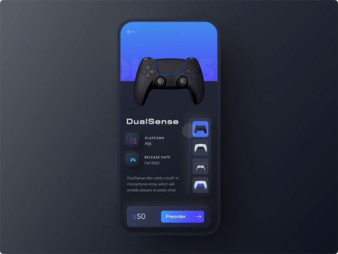 Playstation 5 Dualsense 3d Neumorphic Mobile 3d App