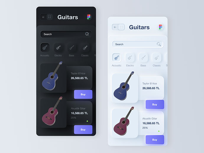 Neumorphism Style - Purchase Guitar App
