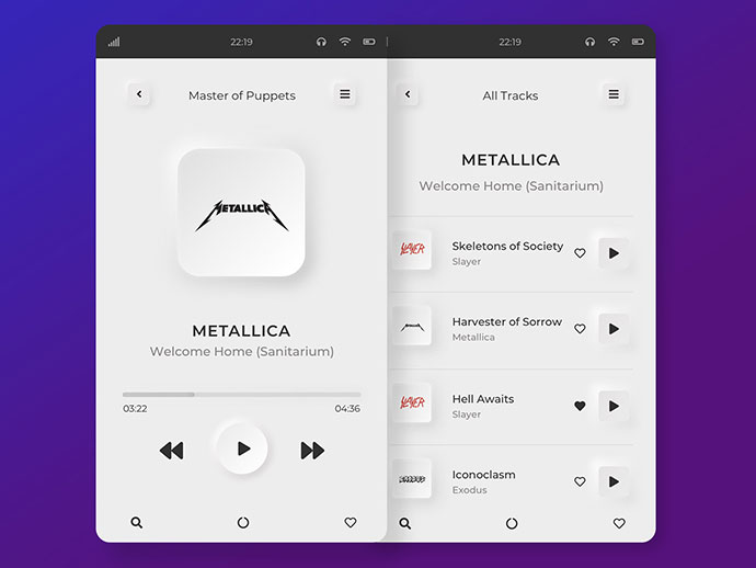Mp3 Player Mobile Application / Neumorphism