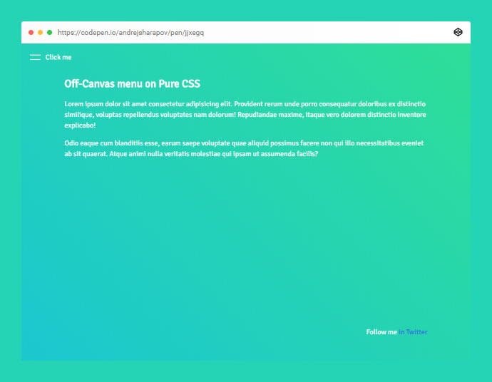 Off-canvas Menu On Pure CSS