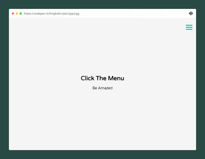 Full Screen Overlay Hamburger Menu