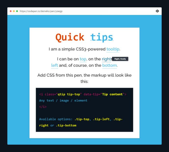 Quick CSS3 Tooltips (No Images, No Js)
